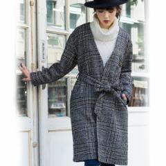 ジーラ バイ リュリュ(ファッション)(GeeRA by RyuRyu)/【WEB限定】グレンチェック柄ガウンコート