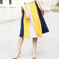 ジーラ バイ リュリュ(ファッション)(GeeRA by RyuRyu)/【WEB限定】落ち感素材の配色切替ラップデザインスカート