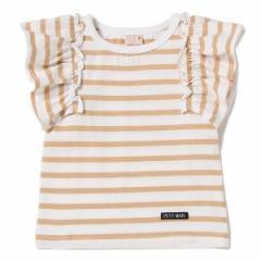 プティマイン(petit main)/フリル袖ボーダー柄Tシャツ