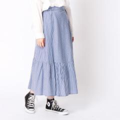 二コルホワイト(NICOLE white)/ストライプ柄切替えスカート