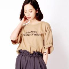 二コルホワイト(NICOLE white)/ロゴ刺繍5分袖Tシャツ