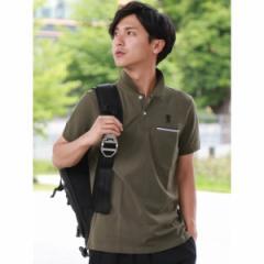 ジョルダーノ(メンズ)(GIORDANO)/ジョルダーノ(ライクラ素材【ストレッチ抜群】ラインポケットライオン刺繍ポロシャツ)