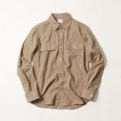 コーエン(メンズ)(coen)/綿麻ソリッドWポケットレギュラーカラーシャツ