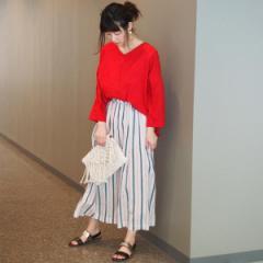二コルホワイト(NICOLE white)/ストライプ柄スカート