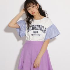 ピンク ラテ(PINK latte)/★ニコラ掲載★袖切り替え Tシャツ
