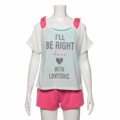 ラブトキシック(Lovetoxic)/肩リボンつきロゴTシャツ×ショートパンツ×タンキニセット