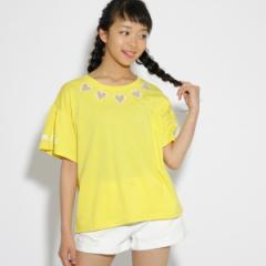 ピンク ラテ(PINK latte)/ハート型抜きフレア Tシャツ