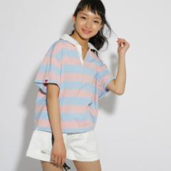 ピンク ラテ(PINK latte)/五分袖 ラガーシャツ
