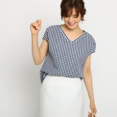 インディヴィ(INDIVI)/【WEB限定】Vネックギンガムチェックシャツ