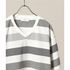 417エディフィス(417 EDIFICE)/メンズTシャツ(ナシジマルチボーダーVネックTシャツ)