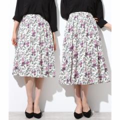 ビス(ViS)/【着丈が選べる美人丈】フラワープリントスカート