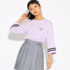 ピンク ラテ(PINK latte)/Tシャツ(【コットン100】ライン入り7分袖 Tシャツ)