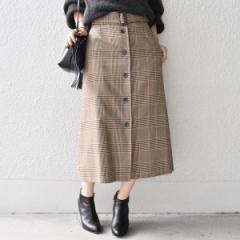 シップス(レディース)(SHIPS for women)/グレンチェックボタンフレアスカート
