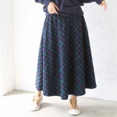 コーエン(レディース)(coen)/チェックフレアロングスカート