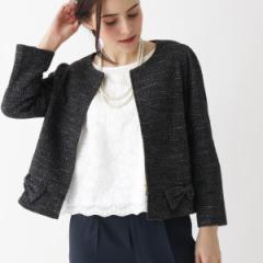 クチュールブローチ(Couture Brooch)/【WEB限定サイズ(LL)あり】リボン付きジャージーツイードジャケット