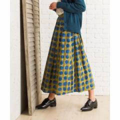 サブストリート(大きいサイズ)(sab street my standard)/【9号(M)〜15号(3L)】【大きいサイズ】コットン表起毛手描きドットスカート