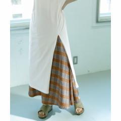 KBF(KBF)/レディススカート(WEB限定 チェック柄フレアロングスカート)