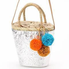 ビバユー(バッグ&ウォレット)(VIVAYOU)/メタリックカラーのポンポン飾りつき2WAYかごバッグ