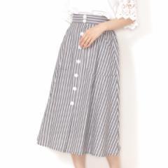 インシード(INCEDE)/[S−LL][綿100%]フロント釦付き マルチストライプミモレ丈スカート