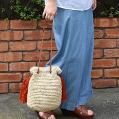 クーコ(cooco)/ペーパータッセル付巾着かごバッグ