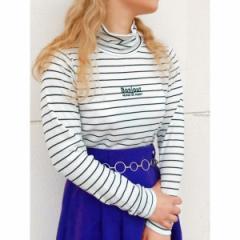 ウィゴー(レディース)(WEGO)/WEGO/刺繍ロゴタートルネックTシャツ