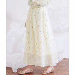 KBF(KBF)/レディススカート(オーガンジー刺繍バイアススカート)