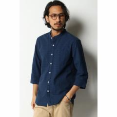 イッカ メンズ(ikka)/グレンチェックバンドカラー7分袖シャツ