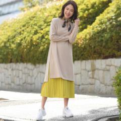 メイソングレイ(MAYSON GREY)/【socolla】スリットワンピース×プリーツスカート セット