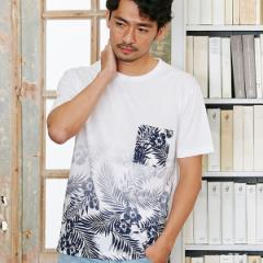 メンズビギトーキョー(MEN'S BIGI TOKYO)/ハワイアンリーフ&フラワー柄グラデーションTシャツ
