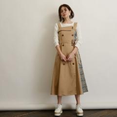 オゾック(OZOC)/[洗える]サイドチェックトレンチジャンパースカート