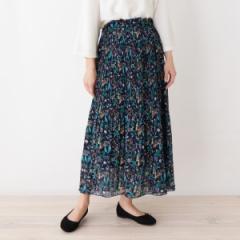 サンカンシオン(レディス)(3can4on Ladies)/【洗える】レトロフラワー プリーツロングスカート