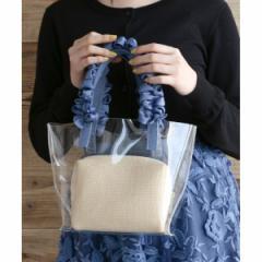 エージー バイ アクアガール(AG by aquagirl)/【WEB限定アイテム】ポーチ付フリルハンドルクリアミニトートバッグ