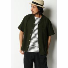 イッカ メンズ(ikka)/麻混ピケオープンカラーシャツ