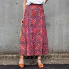 ラビアンジェ(LAVEANGE)/[S〜4L][洗える]シフォンパネルプリントロングスカート