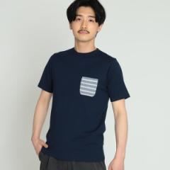 ビームス(BEAMS)/BEAMS / 天竺 ボーダー ポケット クルーネック Tシャツ