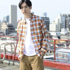 コーエン(メンズ)(coen)/綿麻チェック長袖シャツ