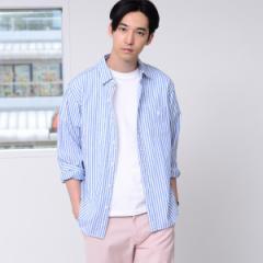 コーエン(メンズ)(coen)/【GO OUT6月号掲載】綿麻ストライプレギュラーカラーシャツ