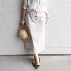 シップス(レディース)(SHIPS for women)/リネンポリエステルボタンスカート