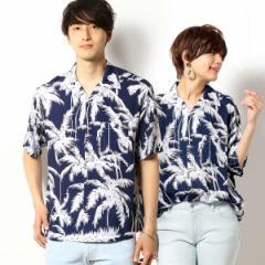【NEW】パープル&イエロー(Purple & Yellow)/ヤシの木柄 ビッグ アロハシャツ