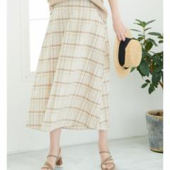 ロペピクニック(ROPE' PICNIC)/【WEB限定】綿麻チェックロングスカート