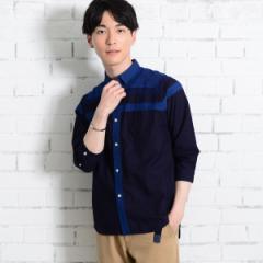 コーエン(メンズ)(coen)/インディゴ切替7分袖シャツ