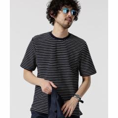 ナノ・ユニバース(メンズ)(nano universe)/【19SS】ジャガードボーダークルーネックTシャツ