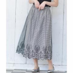 アール・ピー・エス(r.p.s)/裾スカラップ刺繍ギンガムチェックスカート