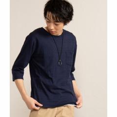 ウィゴー(メンズ)(WEGO)/アクセ付きアンサンブルジャガード7分袖Tシャツ