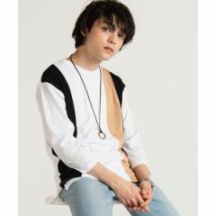 ウィゴー(メンズ)(WEGO)/アクセ付きアンサンブル切替7分袖Tシャツ