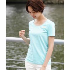 ジョルダーノ(レディース)(GIORDANO)/[GIORDANO]ライオン刺繍クルーネックTシャツ