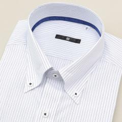 【NEW】スーツセレクト(メンズ)(SUIT SELECT)/ボタンダウンドレスシャツ/白ストライプ/襟裏テープ・釦付糸:ネイビー【BL−3MODEL…
