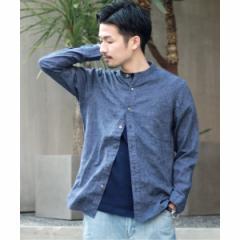 417エディフィス(417 EDIFICE)/メンズシャツ(【Begin掲載】HERDMAN LINEN ノーカラー シャツ)
