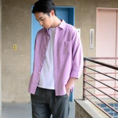 【NEW】コーエン(メンズ)(coen)/綿麻千鳥柄7分袖シャツ