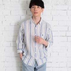 コーエン(メンズ)(coen)/綿麻ストライプ7分袖シャツ